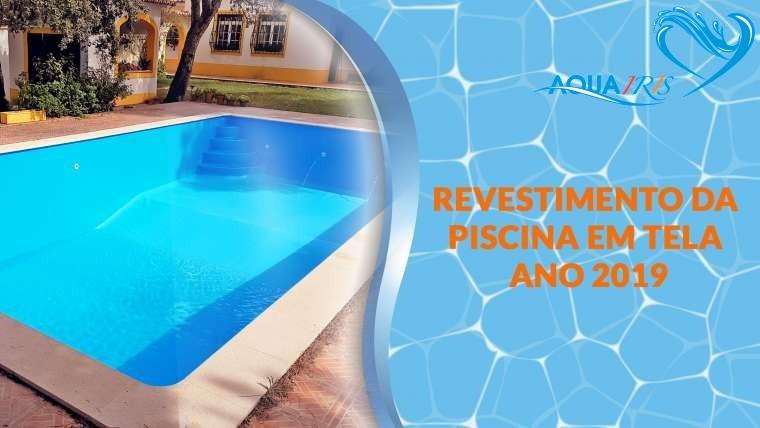 Revestimento da piscina em tela armada azul em  Mata do Duque